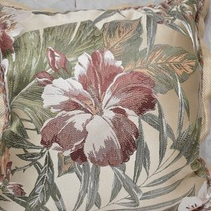 "Croscill Anguilla 18"" Tropical Floral Embroidery D"